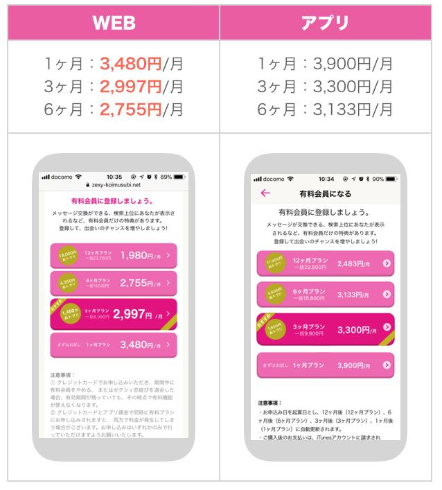 ゼクシィ恋結びのWEB版・アプリ版料金