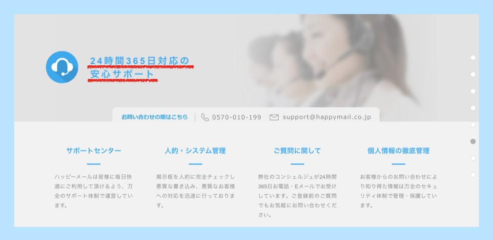 ハッピーメールのサポート体制