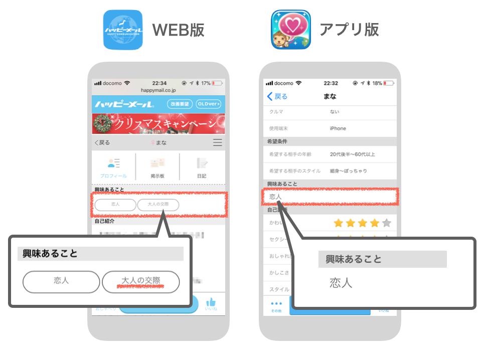 ハッピーメールのWEB版・アプリ版の興味あること