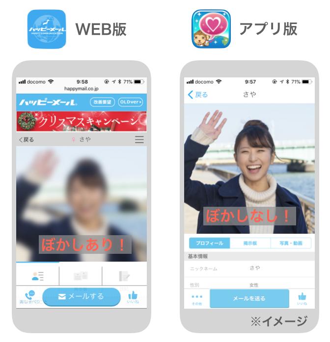 ハッピーメールのWEB版・アプリ版のプロフィール写真