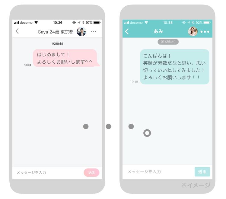 マッチングアプリのメッセージ画面
