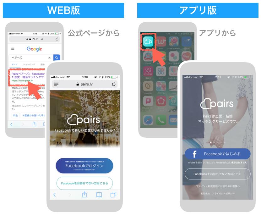 ペアーズのWEB版・アプリ版