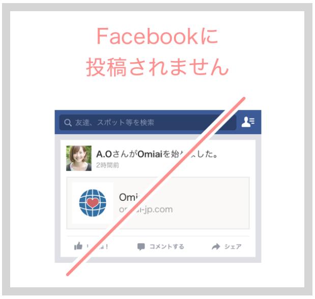 Facebookのウォール上にOmiaiを利用しているという情報が流れることは一切ない