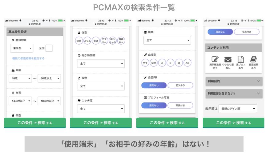 PCMAXの検索条件一覧