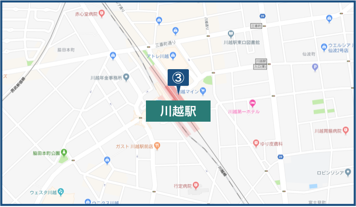 川越駅周辺の地図