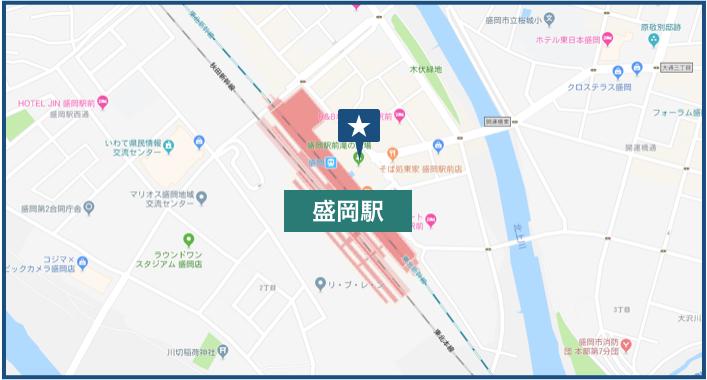 盛岡駅周辺の地図
