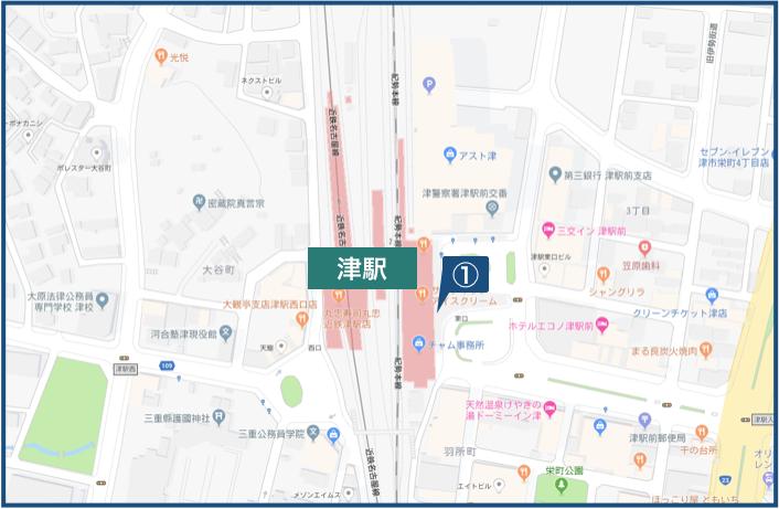 津駅周辺の地図