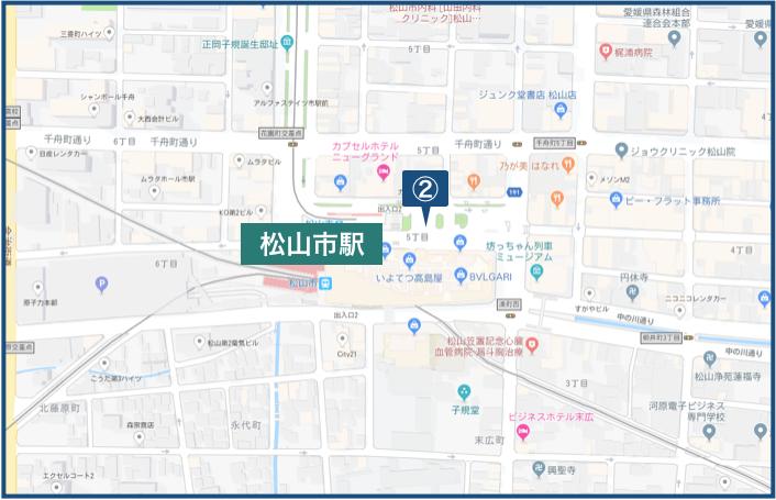 松山市駅周辺の地図