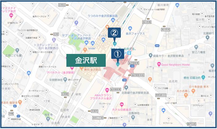金沢駅周辺の地図