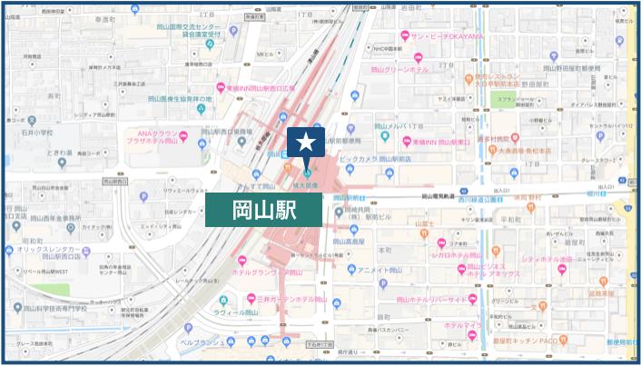 岡山駅周辺の地図