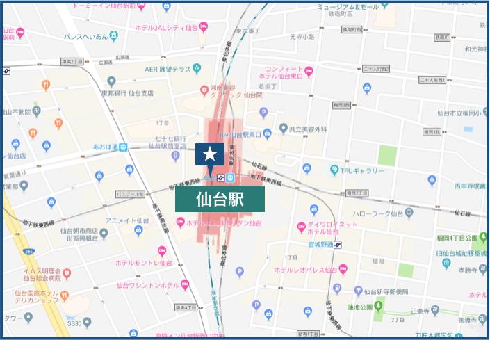 仙台駅周辺の地図