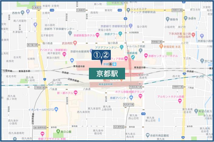 京都駅周辺の地図