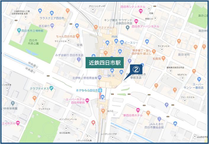 近鉄四日市駅周辺の地図