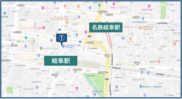 岐阜駅・近鉄岐阜駅周辺の地図