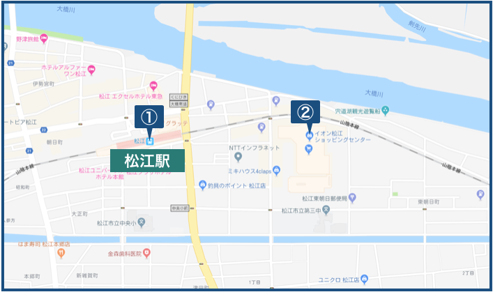 松江駅周辺の地図