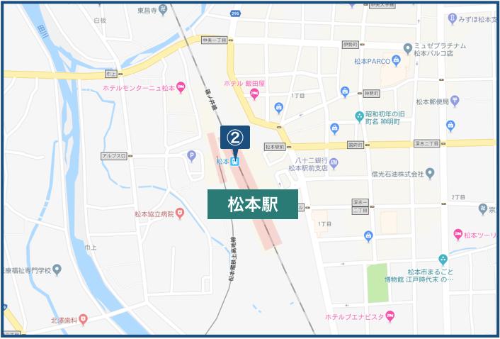松本駅周辺の地図