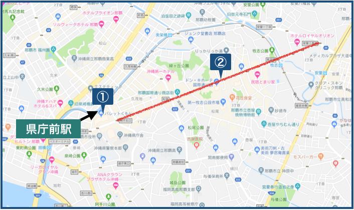 県庁前駅周辺の地図