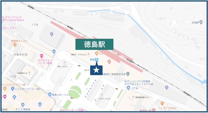 徳島駅周辺の地図