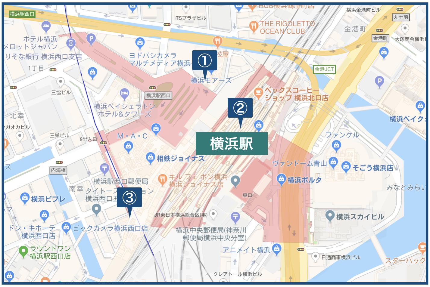 横浜駅周辺の地図