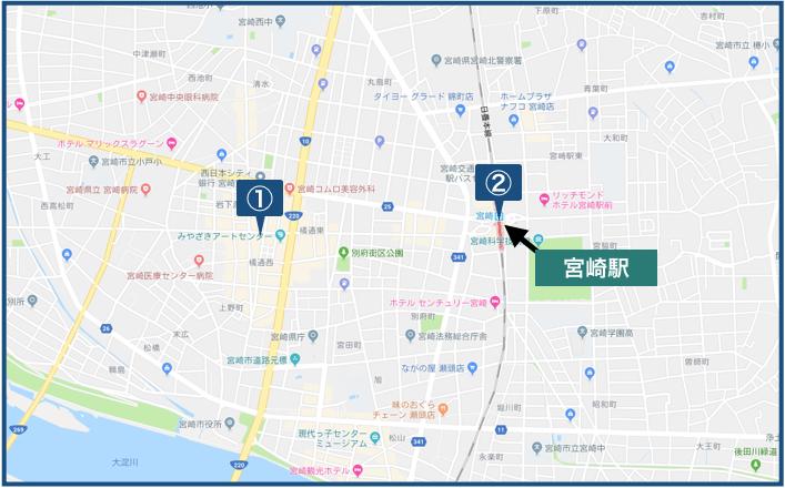宮崎駅周辺の地図