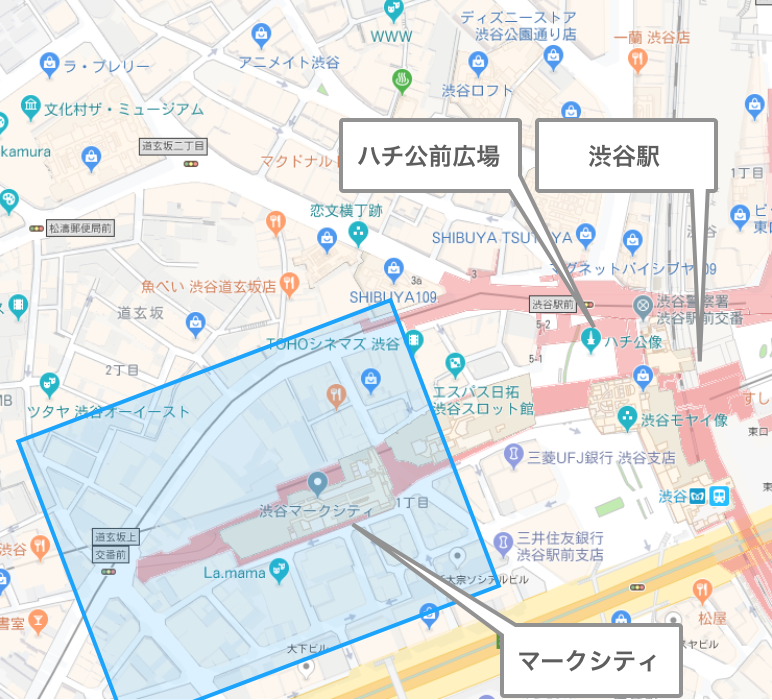 渋谷駅「ハチ公前・マークシティ一帯」