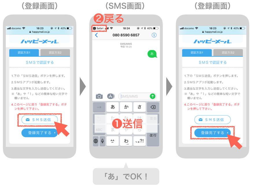 ハッピーメールのSNS認証の手順