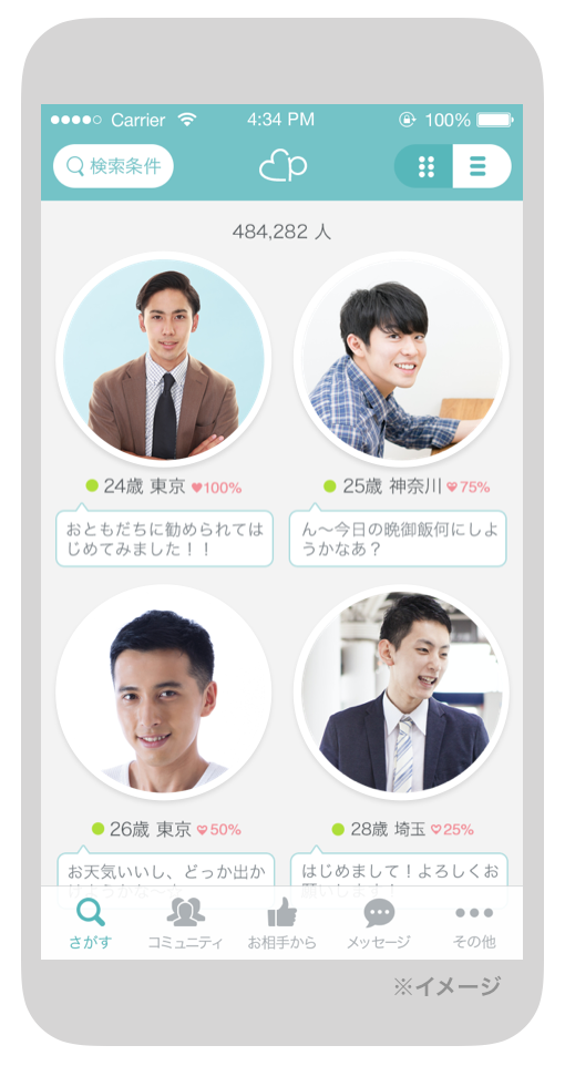 マッチングアプリのイケメンのイメージ