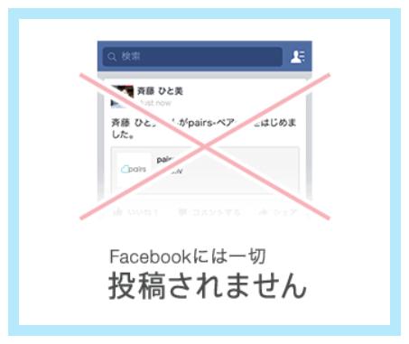 ペアーズ「Facebookには投稿されない」