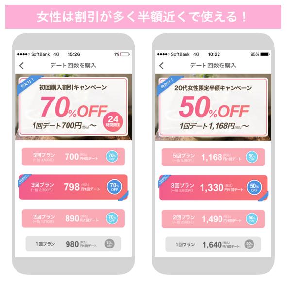 いきなりデートの女性料金