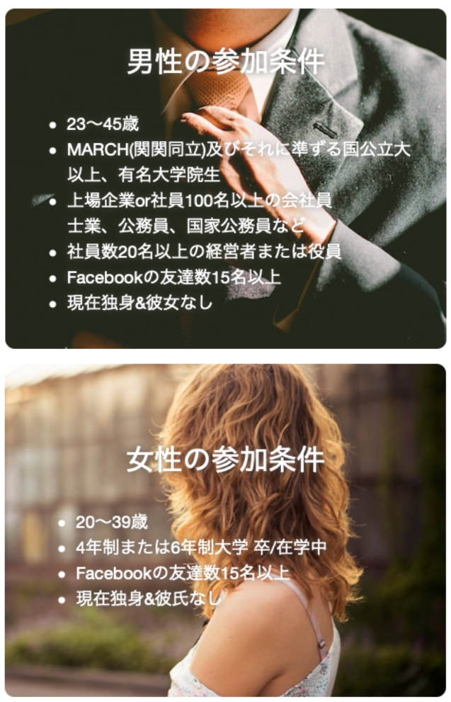 いきなりデート「東京・大阪」の男女別参加条件