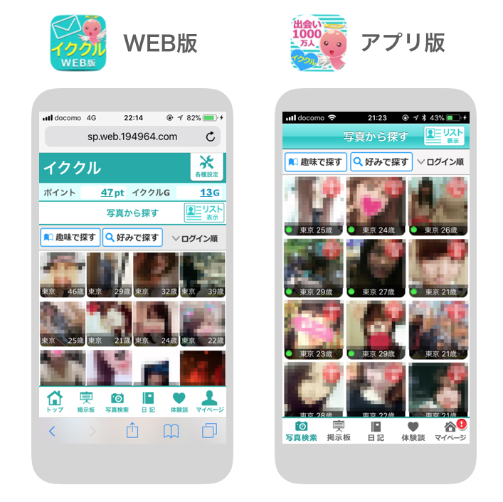 イククル_WEB版アプリ版の違い
