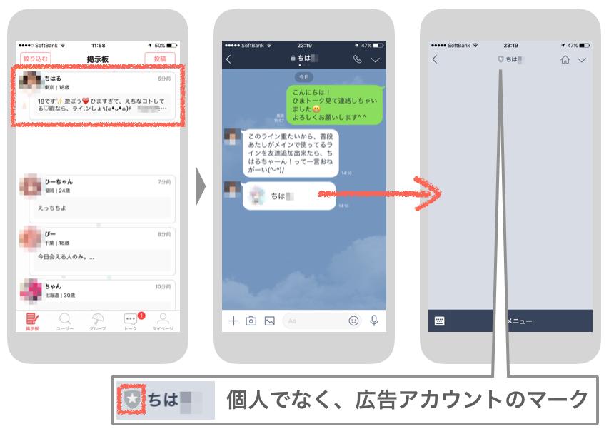 LINE掲示板アプリの例