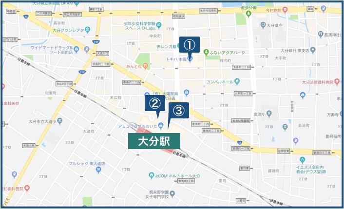 大分駅周辺の地図