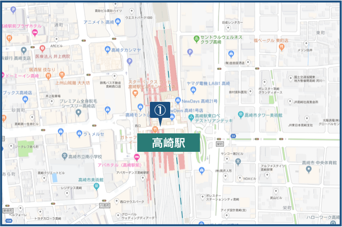 高崎駅周辺の地図