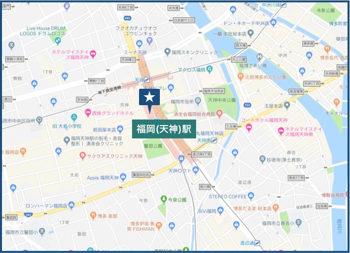 福岡(天神)駅周辺の地図