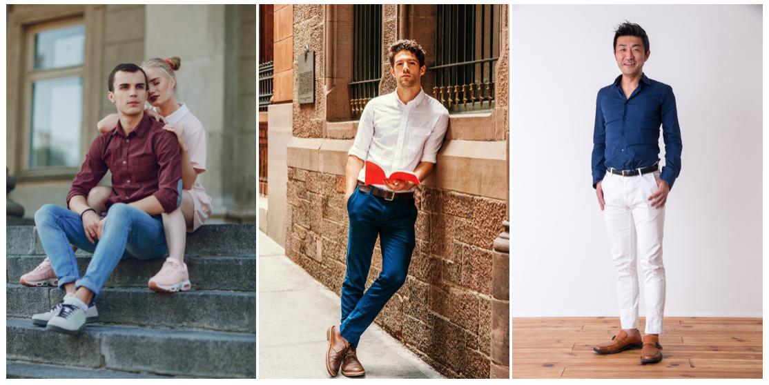 男性の清潔感のある服装「シャツにパンツ」