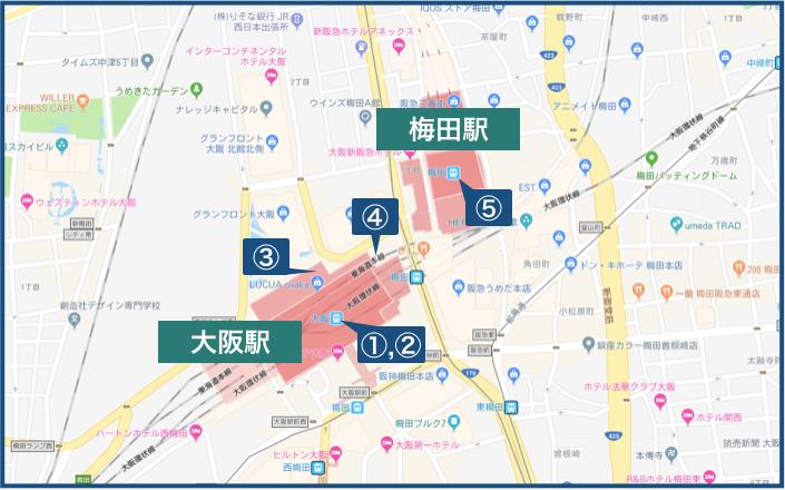 大阪駅・梅田駅の地図