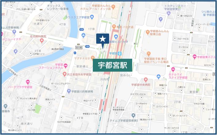 宇都宮駅周辺の地図