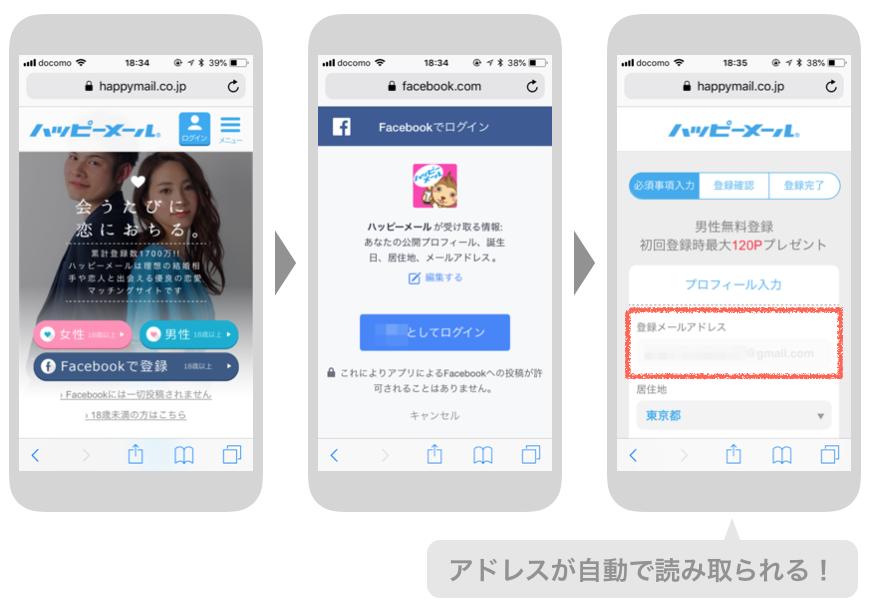 ハッピーメールのFacebook登録画面