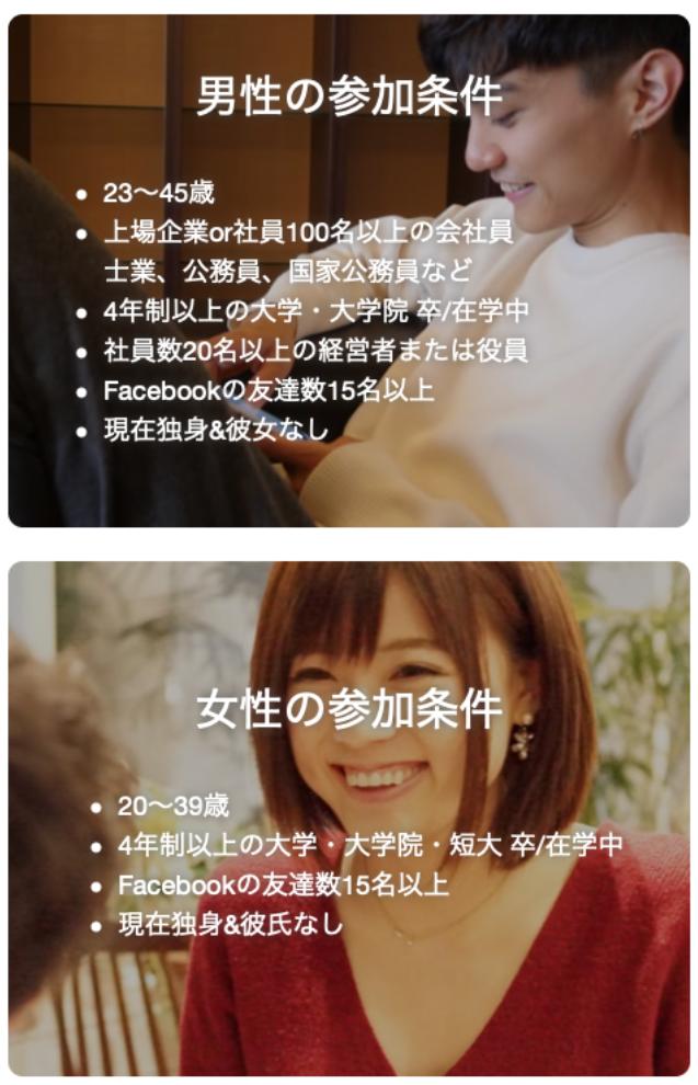 いきなりデート「名古屋・札幌・福岡」の男女別参加条件